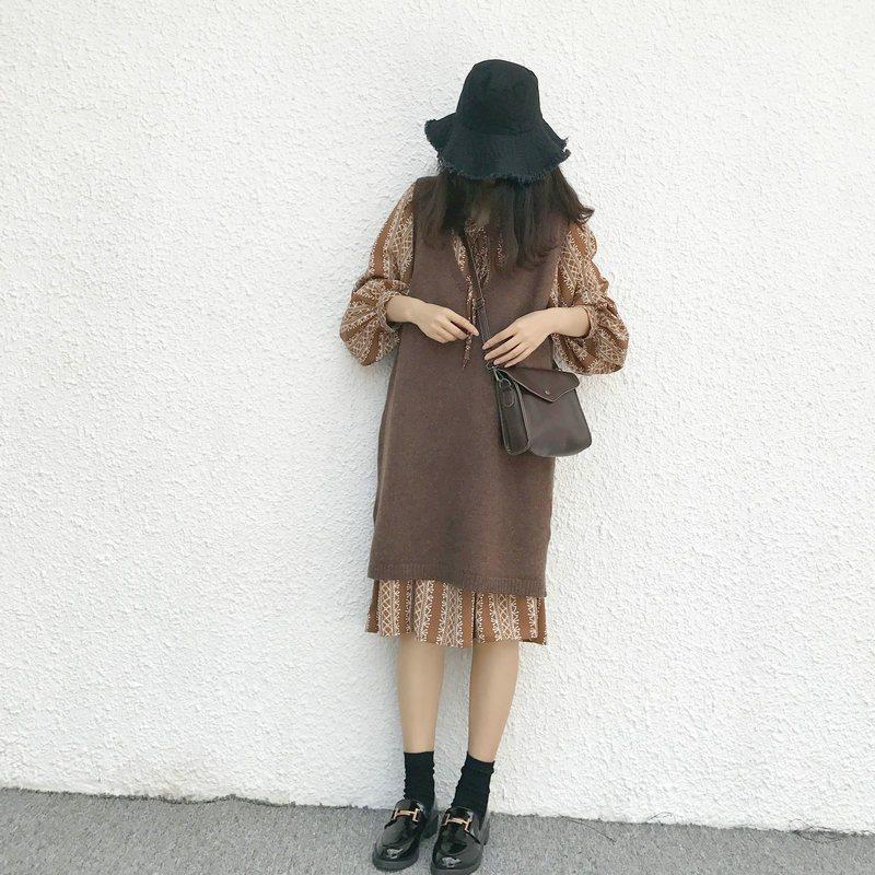 针织背心裙秋冬新款宽松复古大v领套头马夹中长款毛衣