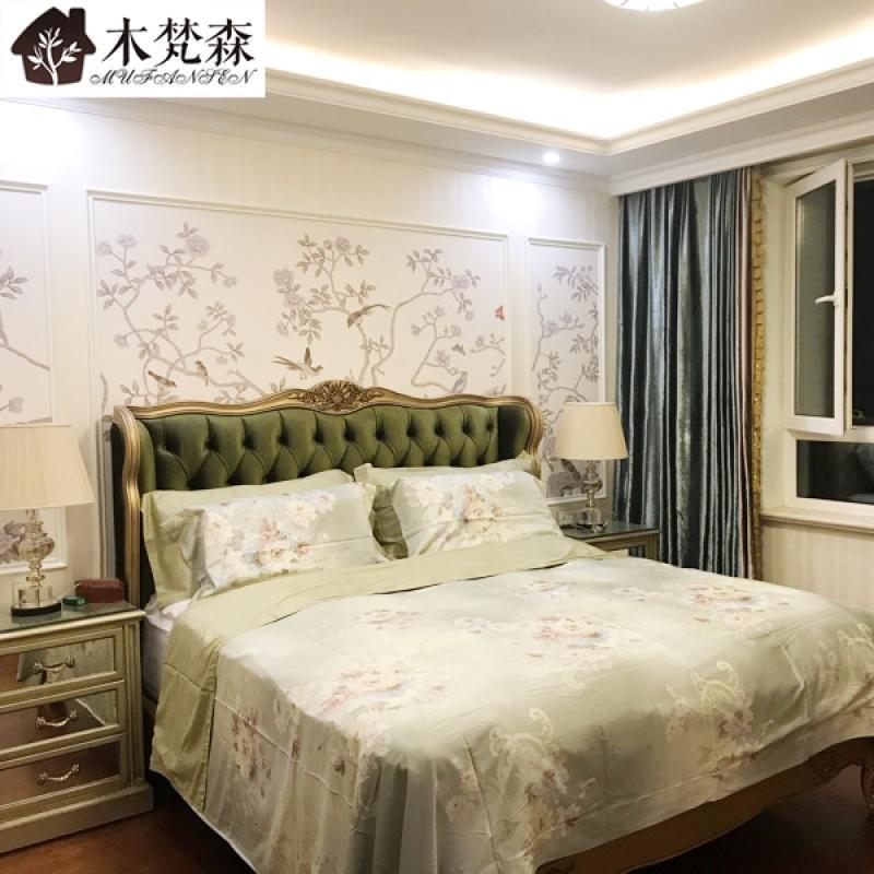 美式床实木床简欧床欧式床双人床1.8米复古主卧风格家具婚床图片