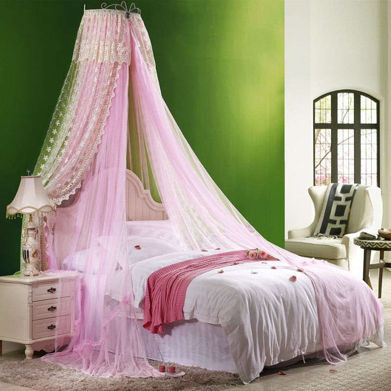 黛西刺绣双层蚊帐 欧式宫廷蕾丝家用1.5m1.8m床落地吊顶蚊帐