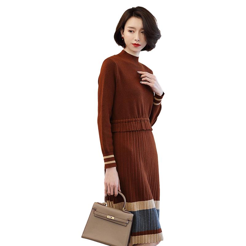 别颖2018春装新款女装直筒抽绳系带中长款立领长袖针织连衣裙