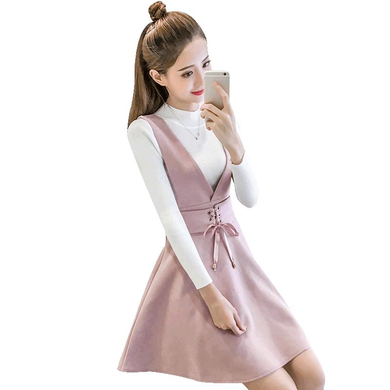 2018新款女装潮套装连衣裙子甜美可爱韩版时尚秋冬两件套套装