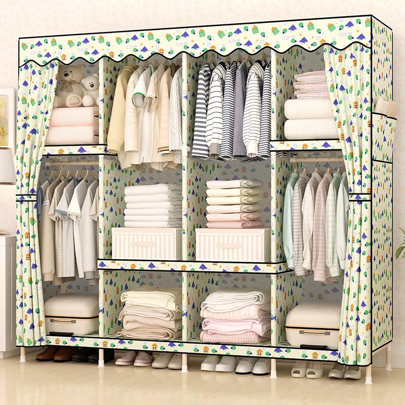 衣柜简易组装组合加固实木衣橱木质儿童折叠大号布艺超牛津布收纳