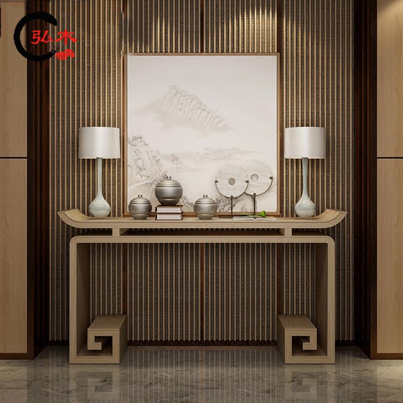 现代新中式禅意玄关柜简约现代装饰台案台神台供桌实木酒店家具图片