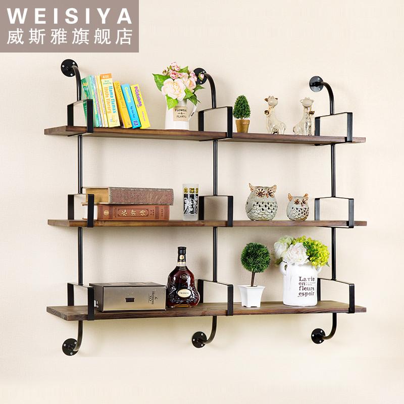 铁艺墙上书架卧室置物架实木板壁挂层架客厅墙壁一字简约隔板架子图片
