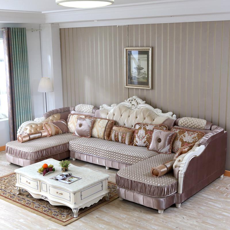 欧式沙发双贵妃u型组合整装大户型客厅转角可拆洗实木