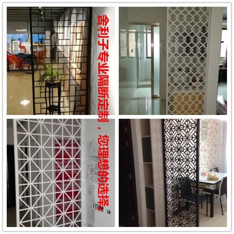 中式铁艺隔断屏风客厅简约现代玄关柜镂空雕花餐厅落地墙工业装饰