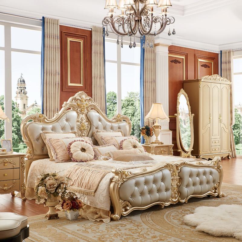 聚家具欧式床新款储物法式婚床实木雕花双人床公主床y1