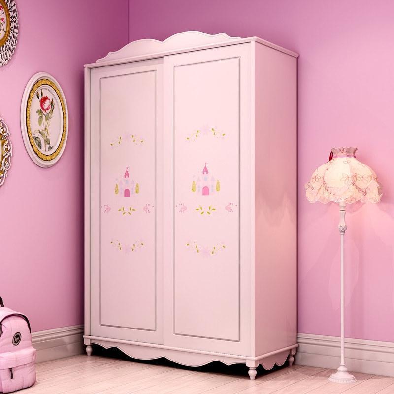 儿童衣柜2门3门衣柜推拉门简约现代欧式卧室柜子趟门衣柜图片