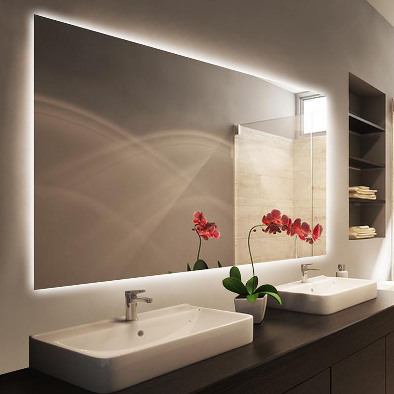 闽威智led厕所镜子镜防雾背光灯镜镜子卫浴壁挂贴墙卫生间视频小学教师浴室试讲资格证图片