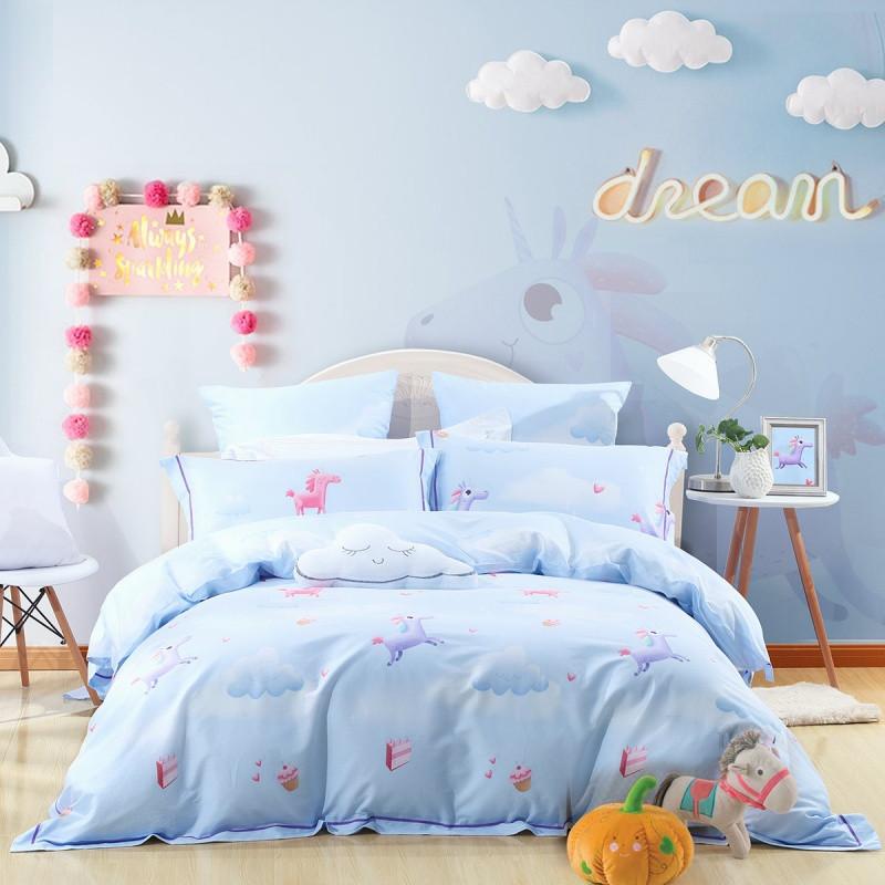 水星家纺卡通儿童四件套可爱动物图案全棉双人床单被套萌马甜心