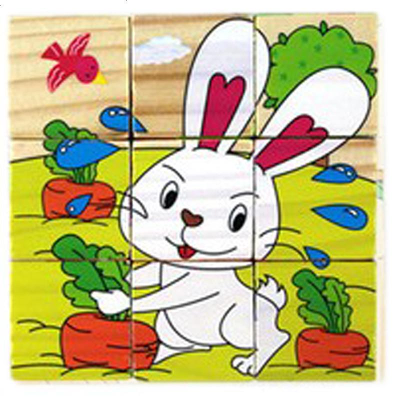 9粒拼图3d卡通动物方块6面画立体拼图木制积木益智玩具