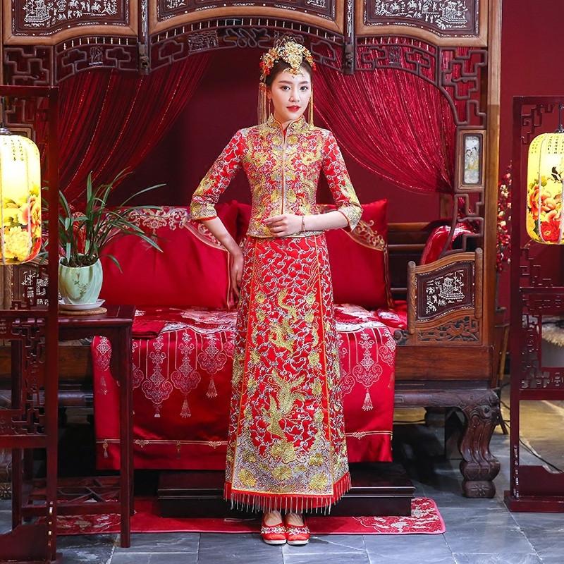 刘诗诗同款秀禾服新郎新娘2018新款龙凤褂中式婚纱中式婚纱情侣图片
