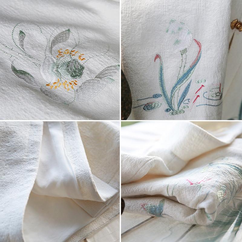 原创设计刺绣改良汉服女装复古棉麻对襟风衣外套秋冬