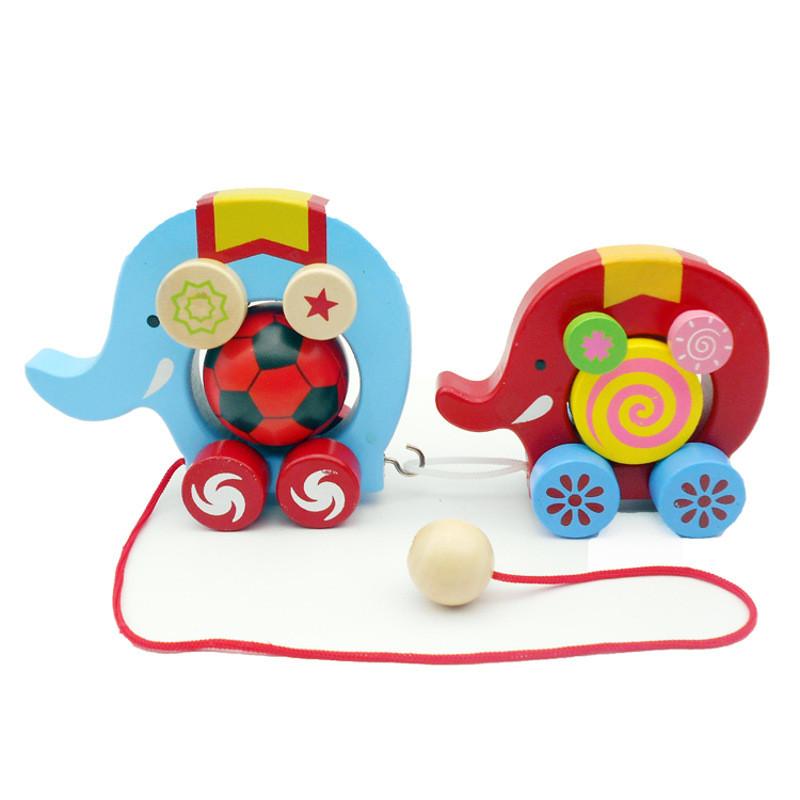 1-3-6岁幼儿园儿童学生木制质力早教玩具拖拉车大象拉