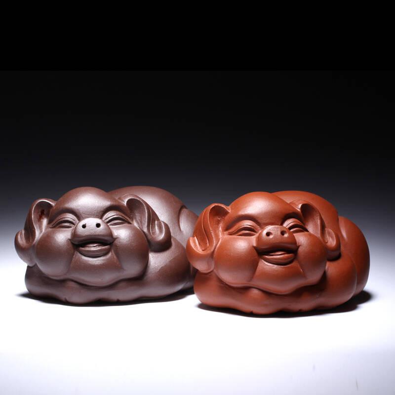 紫砂茶宠茶玩茶道紫砂摆件配件茶具茶道手工雕塑创意小福猪