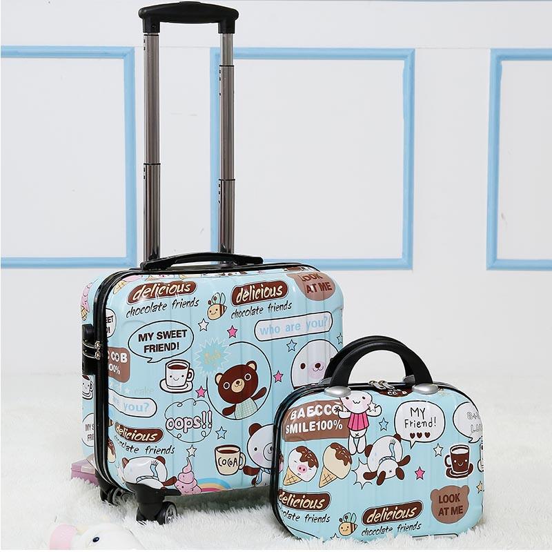 时尚小行李箱女18寸万向轮登机箱可爱卡通迷你小拉杆箱旅行密码箱
