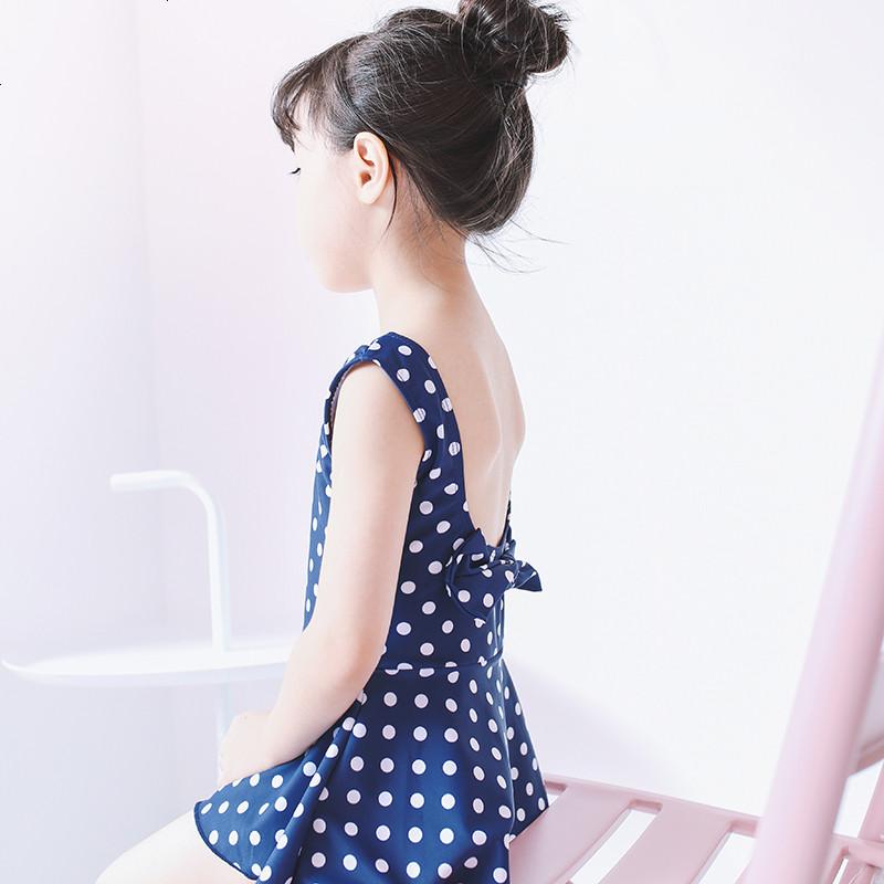 女童泳衣 可爱日系波点蝴蝶结宝宝儿童泳衣女孩连体裙