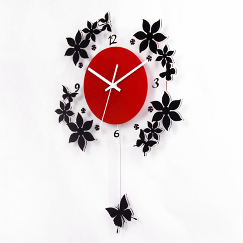 欧式客厅创意挂钟田园时尚艺术时钟装饰钟表静音摇摆石英钟