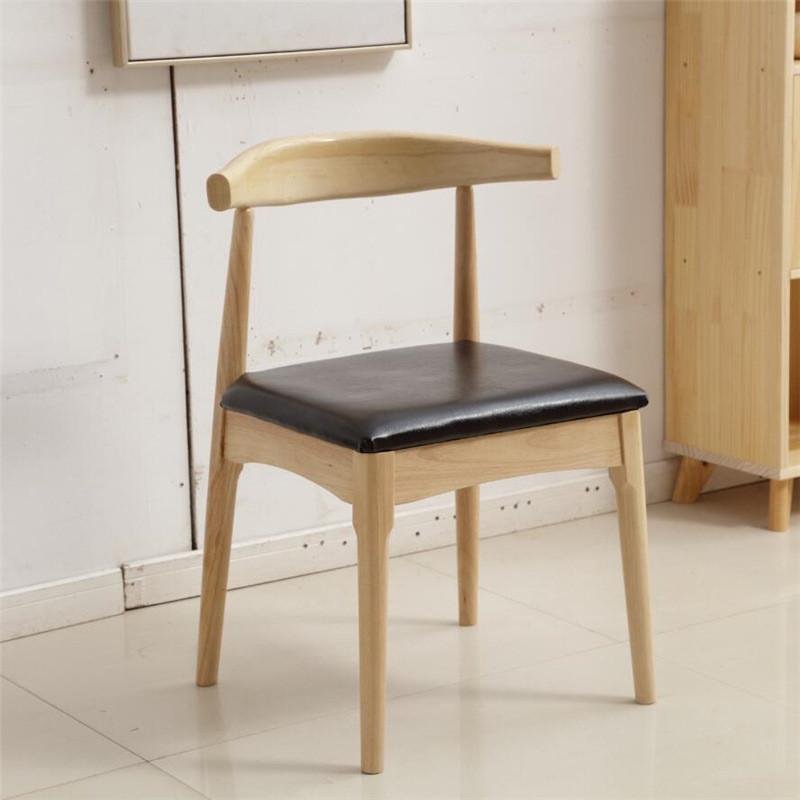亚匠牛角椅实木餐椅家用简约时尚靠背椅餐厅设计师休闲椅