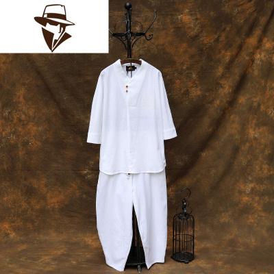 中国风禅服茶服居士服套装中式唐装古装男士汉服佛系古风和服男装