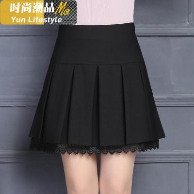 云无心(YUNWUXIN)时尚女装短裙女春秋蕾丝半身裙a字裙子高腰黑色性感百褶蓬蓬裙裤裙跳舞群