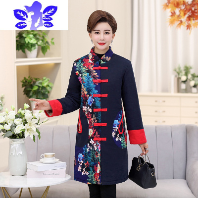 新款冬季老年人民族风棉衣中老年女装绣花棉袄妈妈装唐装外套棉服
