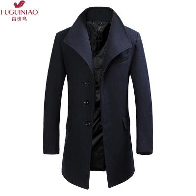 富贵鸟(FUGUINIAO)2019新款毛呢大衣男冬季加绒加厚羊毛风衣帅气中长款呢子外套修身妮子衣服