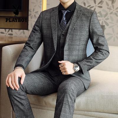花花公子 ( PLAYBOY ICON )大码男士西服套装秋季韩版修身青年商务休闲正装格子西装三件套潮