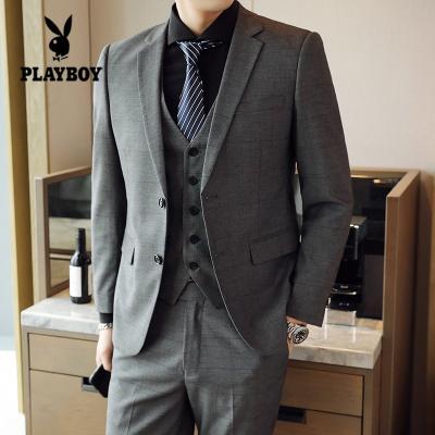 花花公子 ( PLAYBOY ICON )西服套装男 青年韩版 帅气休闲修身学生结婚新郎职业商务正装婚礼