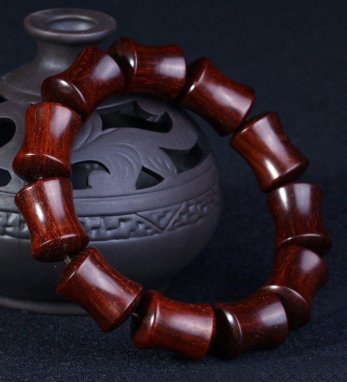 小叶紫檀竹节手串 天然木质佛珠手链