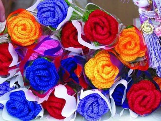 纯手工毛线玫瑰花