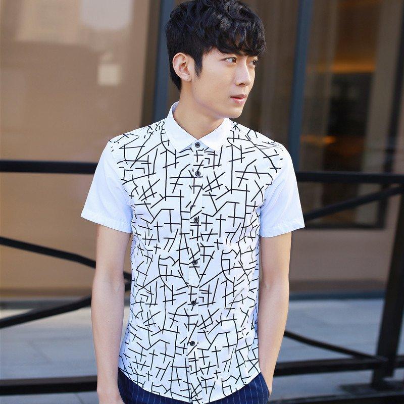 雷登 2016夏季新款短袖衬衫男士修身时尚花纹百搭