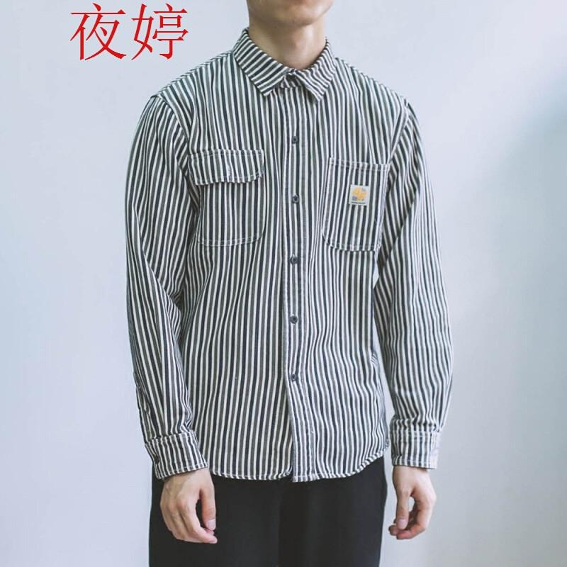 夜婷日系复古2017条纹修身潮牌衬衫男衬衣外