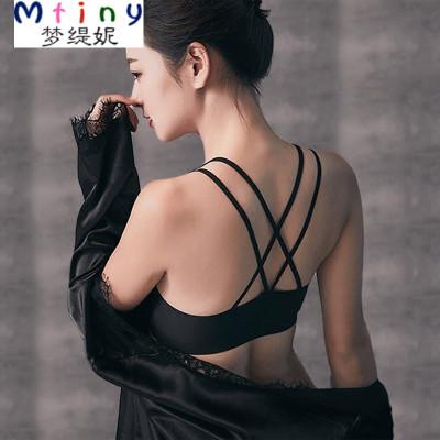 Mtiny冰丝美背吊带背心围胸裹胸抹胸内衣黑色短款性感微聚拢防走光文胸