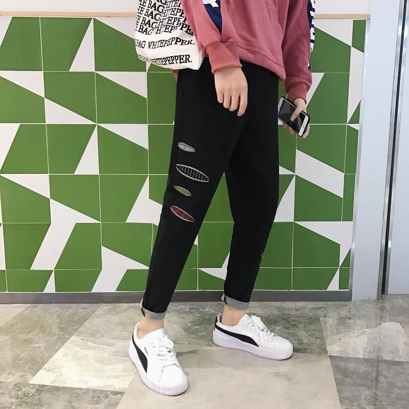 AR2017秋季新品你的男孩TT同款休闲裤破洞彩
