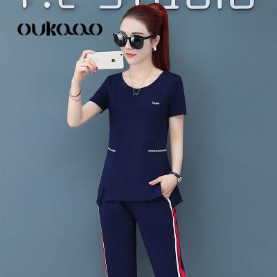 欧卡奥阔腿裤运动套装女2019夏季新款韩版短袖气质时尚显瘦洋气两件套潮